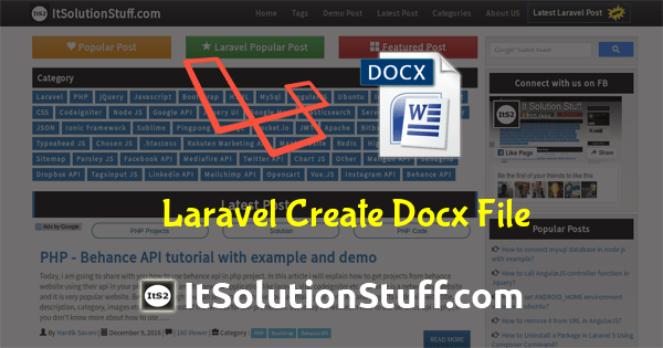 Laravel 5 create word document file using phpoffice/phpword package