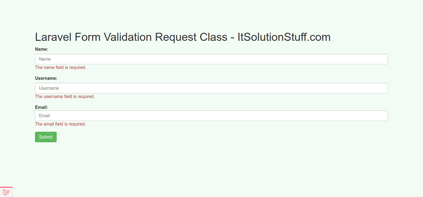 Laravel Form Validation Request Class Example