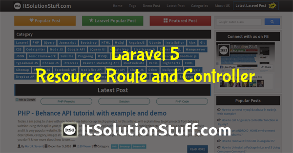 How to create Laravel Resource Controller example?