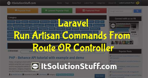 How to execute artisan commands from route or controller in Laravel ?