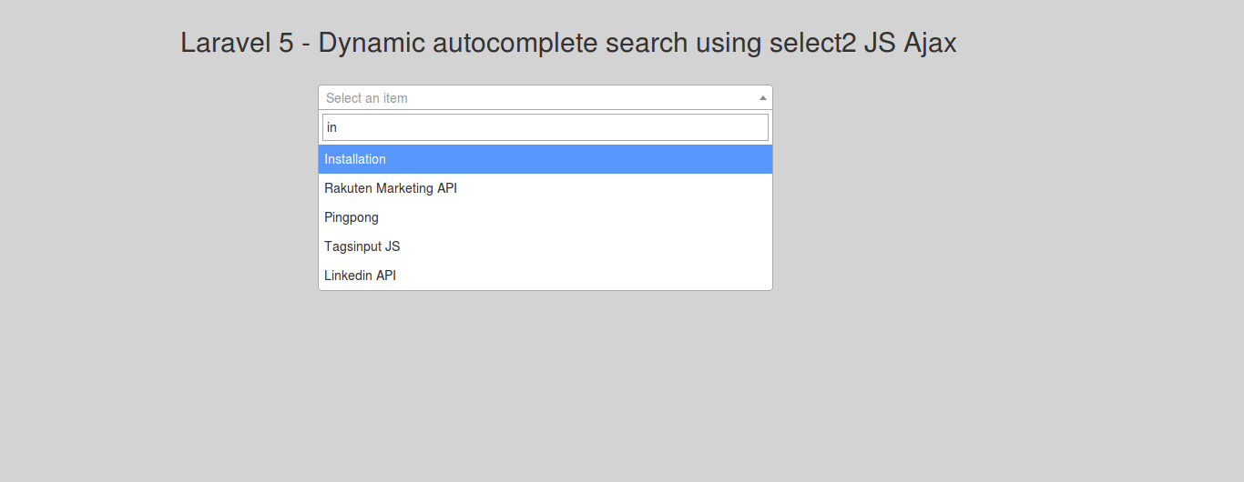 Laravel 5 dynamic autocomplete search using select2 JS Ajax