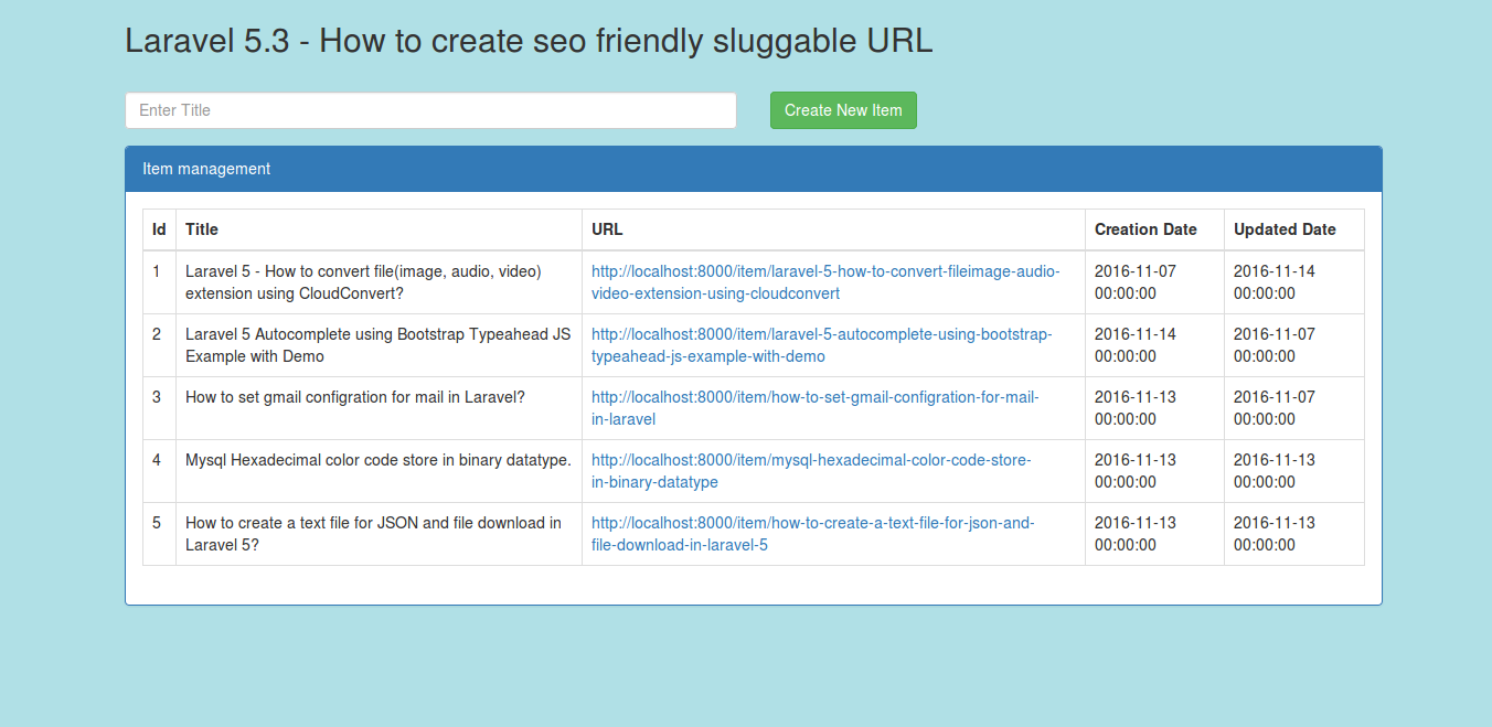 Laravel 5.3 - How to create SEO friendly sluggable URL