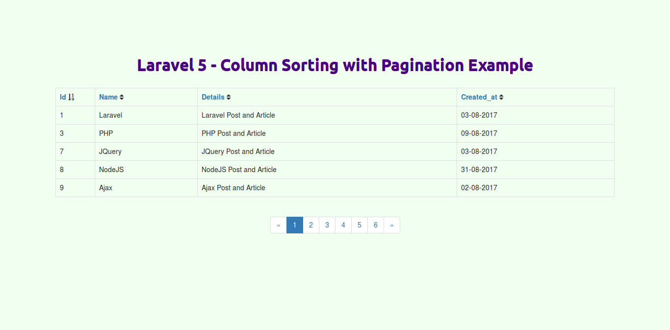 Laravel - Column Sorting with Pagination Example