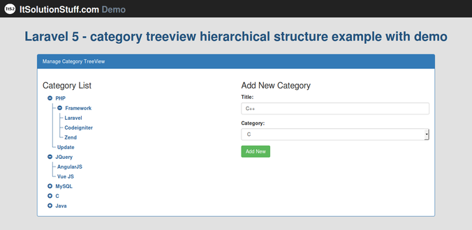 Laravel 5 - category treeview hierarchical structure example with demo