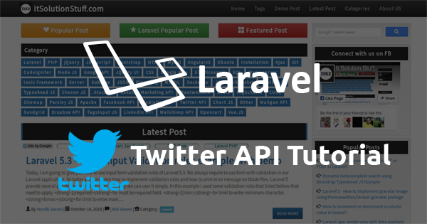 Laravel 5 - Twitter API using thujohn/twitter composer package tutorial