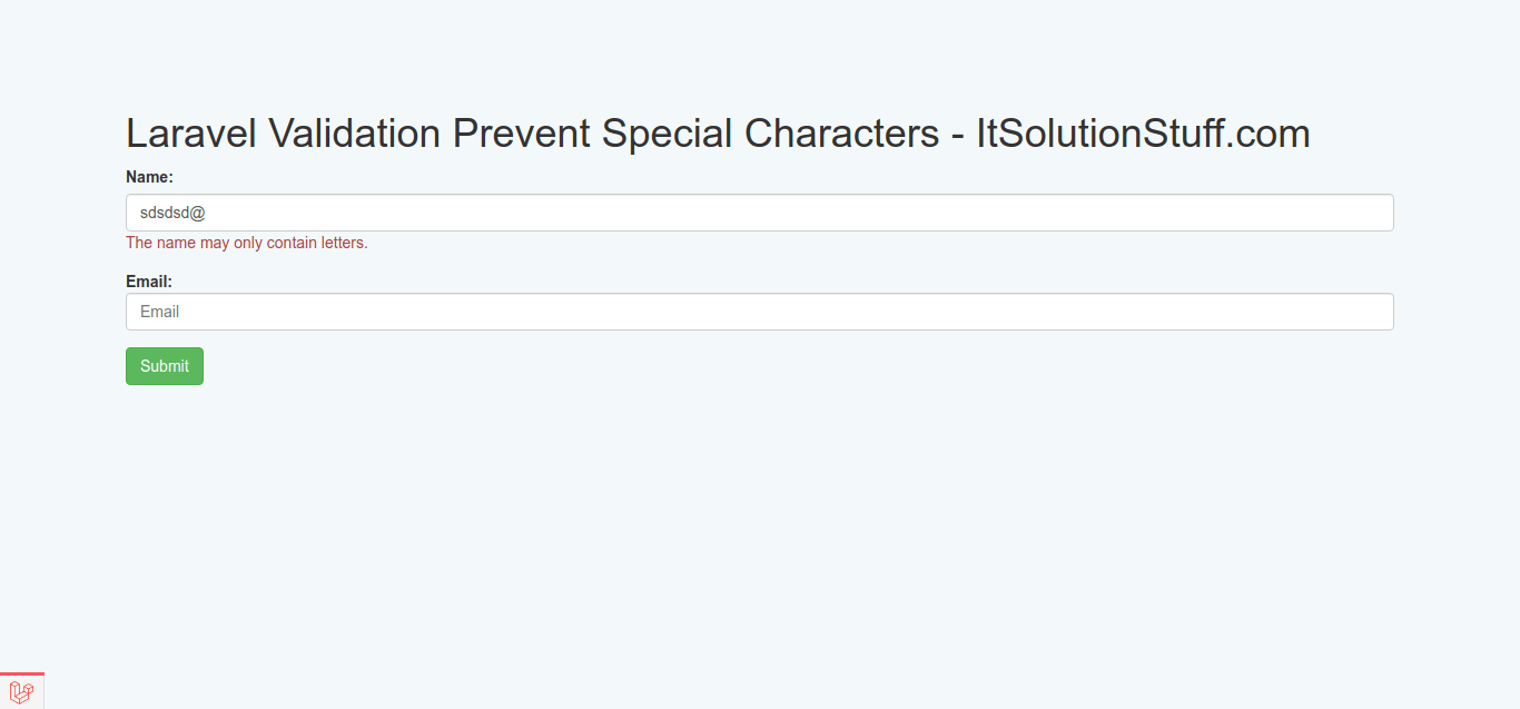 Special Characters Not Allowed Validation in Laravel
