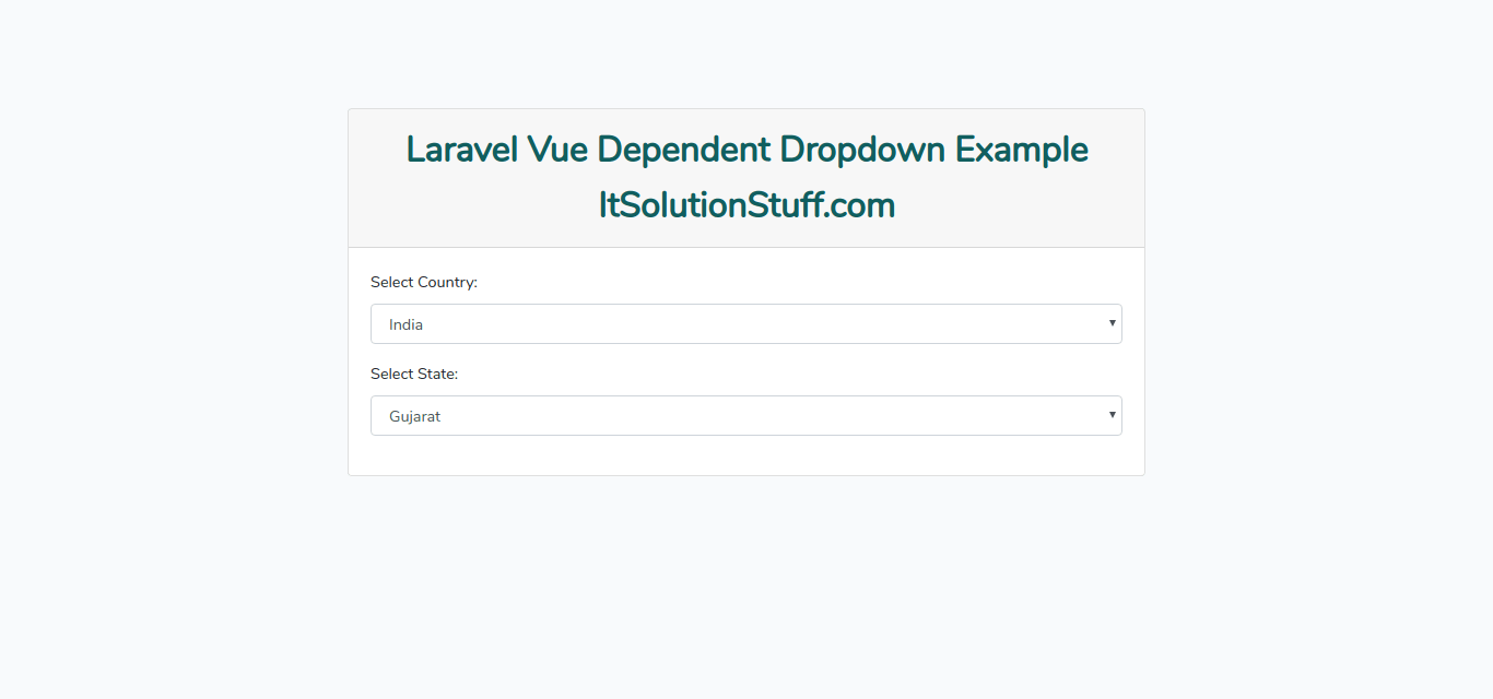 Laravel Vue Dependent Dropdown Example