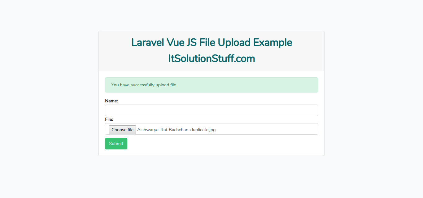 Laravel Vue JS File Upload Example