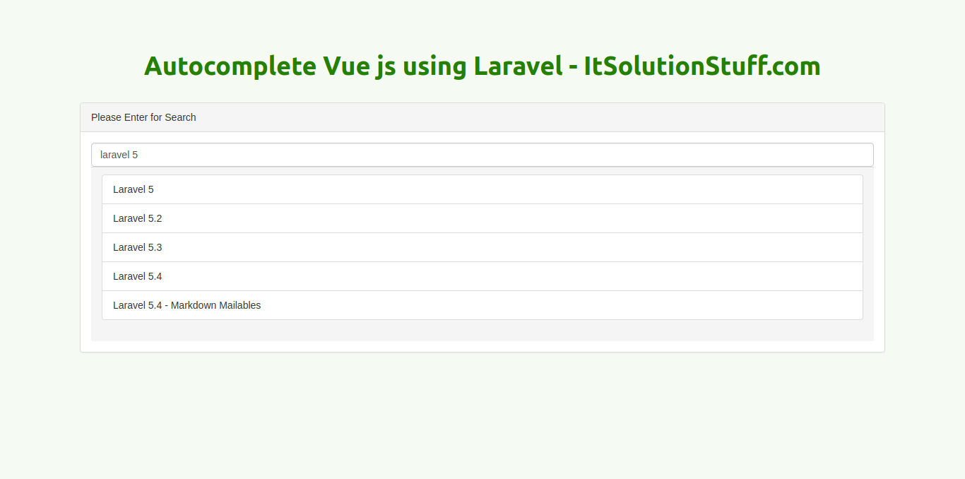Laravel 5 6 - Dynamic Ajax Autocomplete using Vue js