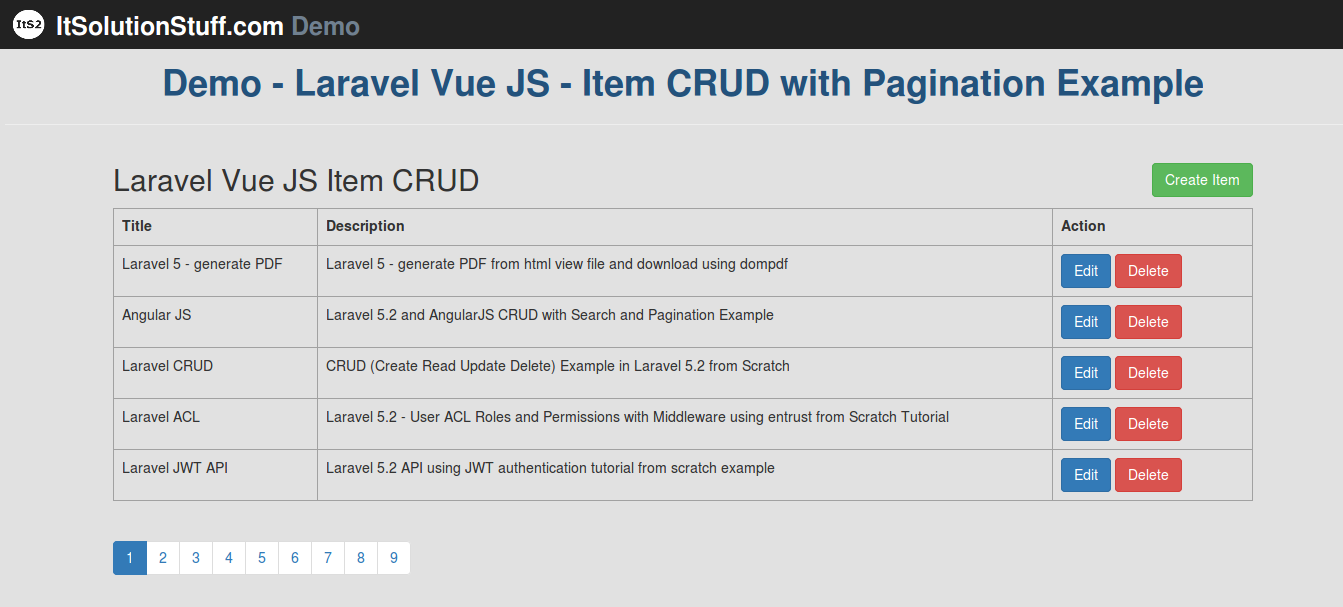 Laravel 5 and Vue JS CRUD with Pagination example and demo from scratch