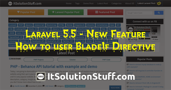 Laravel 5.5 New Feature - BladeIf Directive Example