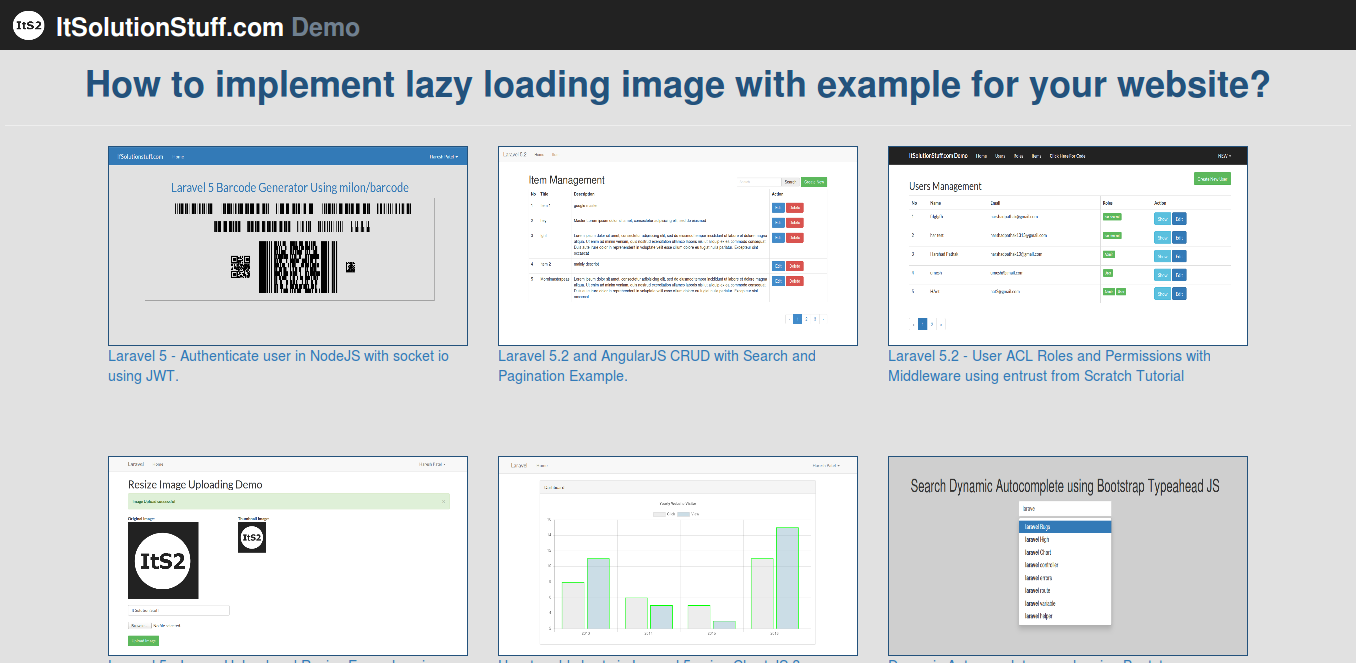 How to implement lazy loading image with example for your