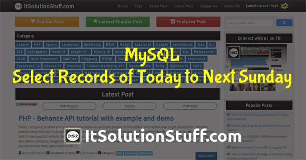 MySQL Query - How to select records of today to next Sunday ?