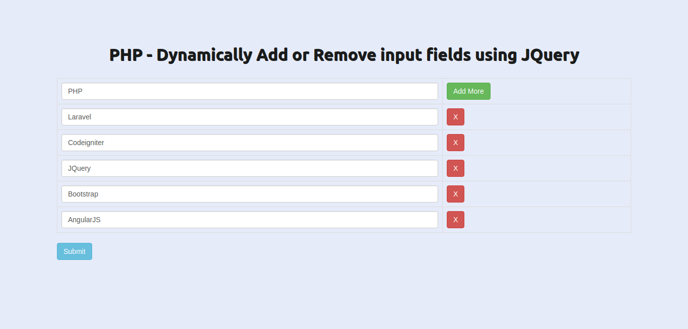 PHP - Dynamically Add Remove input fields using JQuery Ajax Example with Demo