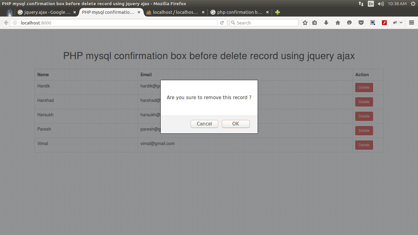 PHP MySQL confirmation box before delete record using jquery ajax