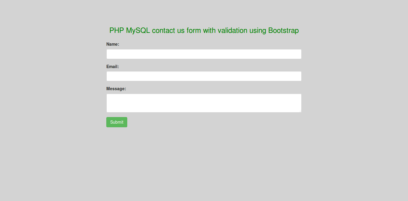 PHP MySQL contact us form with validation using Bootstrap