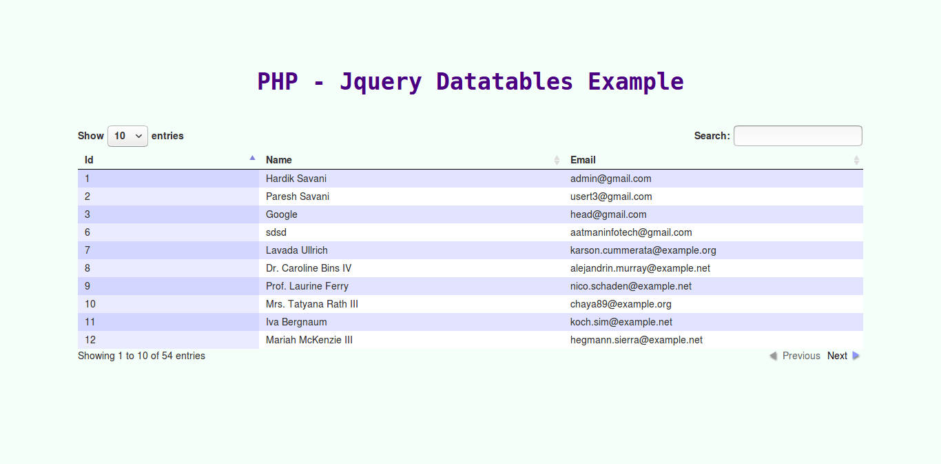 PHP - jquery datatables with mysql database example from scratch