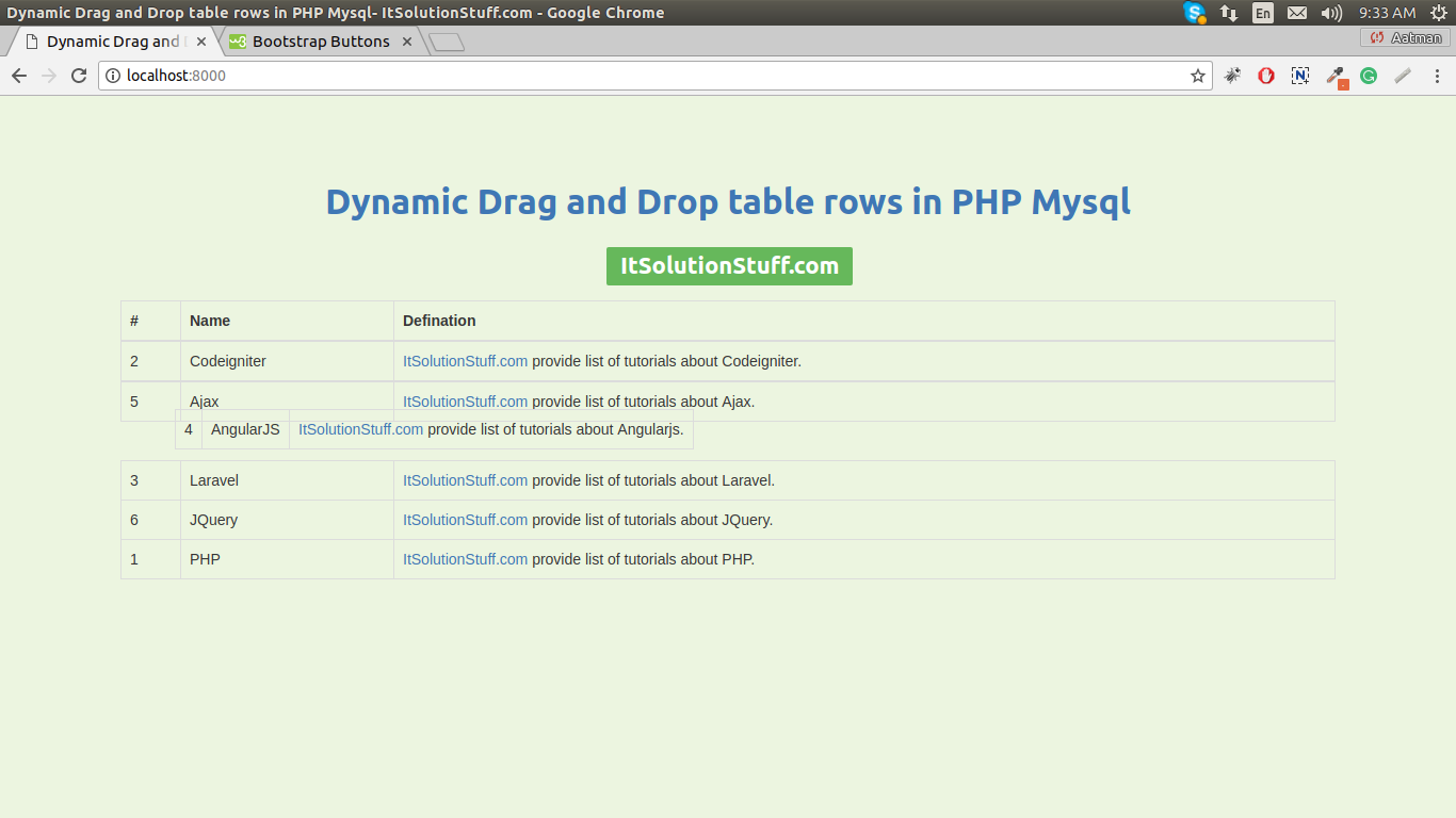 PHP - Dynamic Drag and Drop table rows using JQuery Ajax