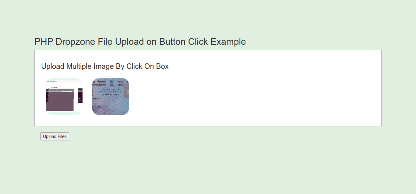 PHP Dropzone File Upload on Button Click Example