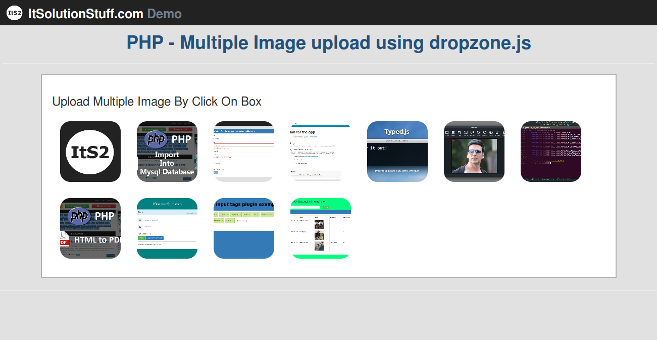 PHP - multiple file uploading dropzone js example