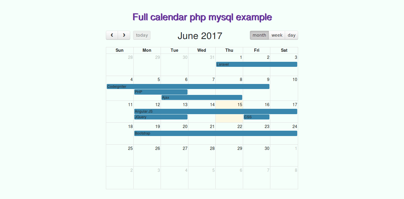 Table Calendar Jquery : How to integrate jquery fullcalendar using bootstrap php