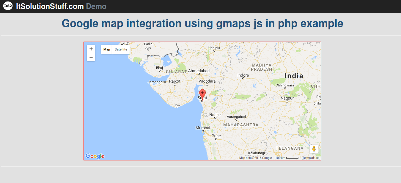 How to integrate google map using gmaps.js in php example?