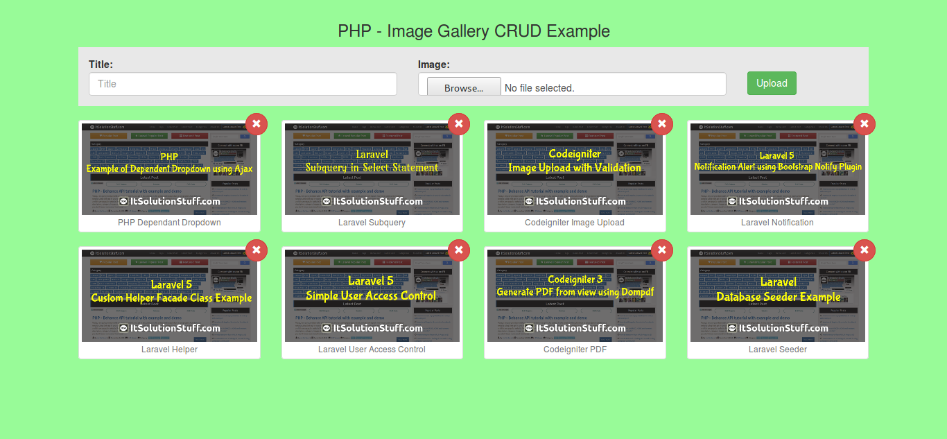 PHP MySQL - Simple Image Gallery CRUD example from scratch