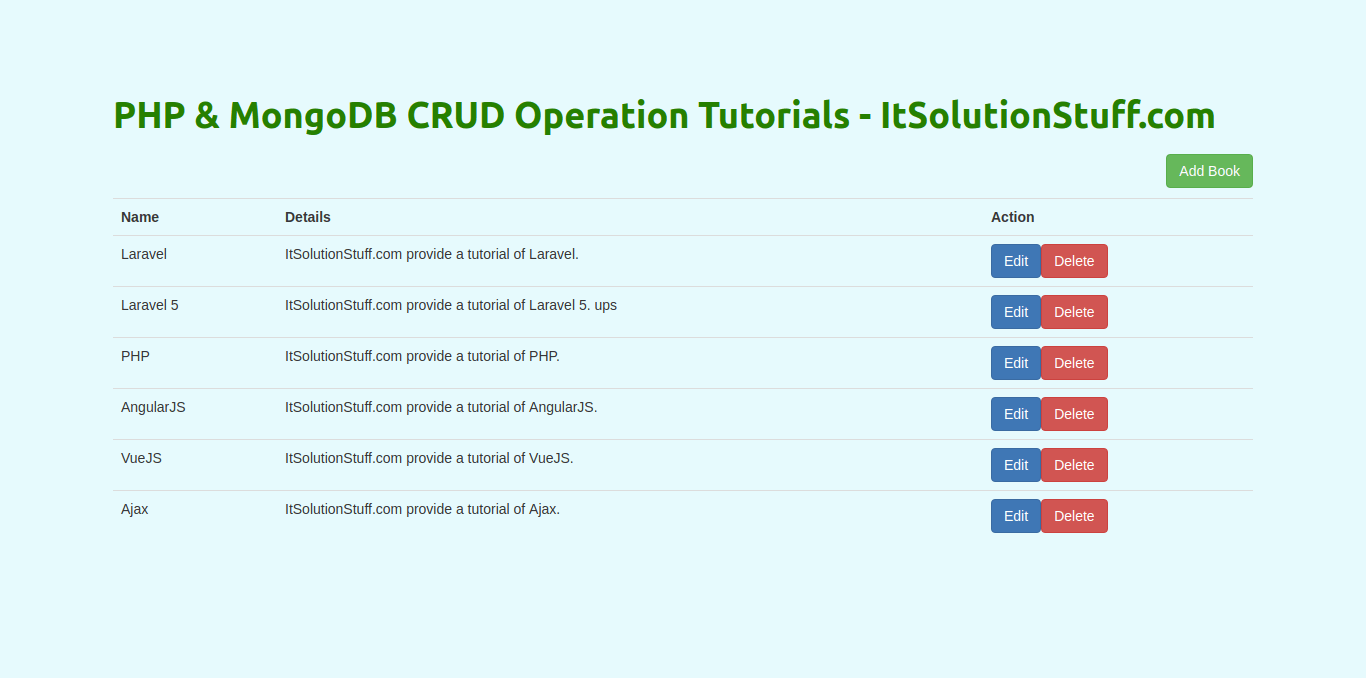 CRUD Operation using PHP & Mongodb