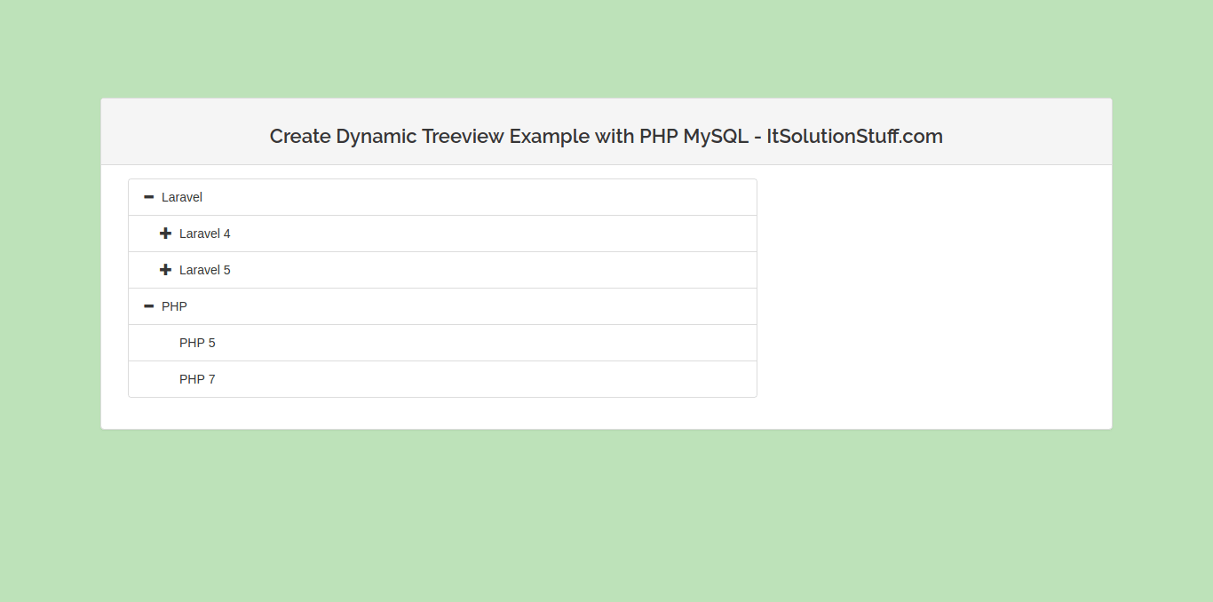 Create Dynamic Treeview Example using JQuery Ajax in PHP MySQL
