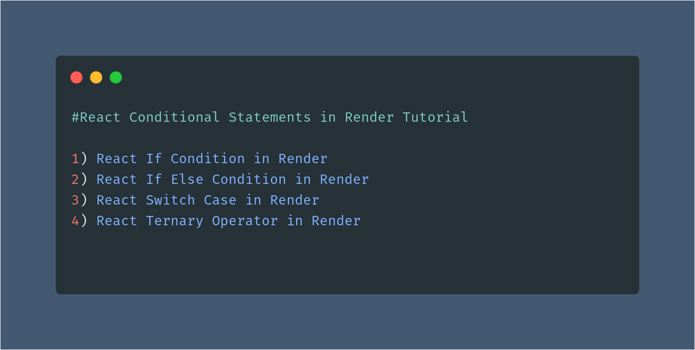 React Conditional Statements in Render Tutorial
