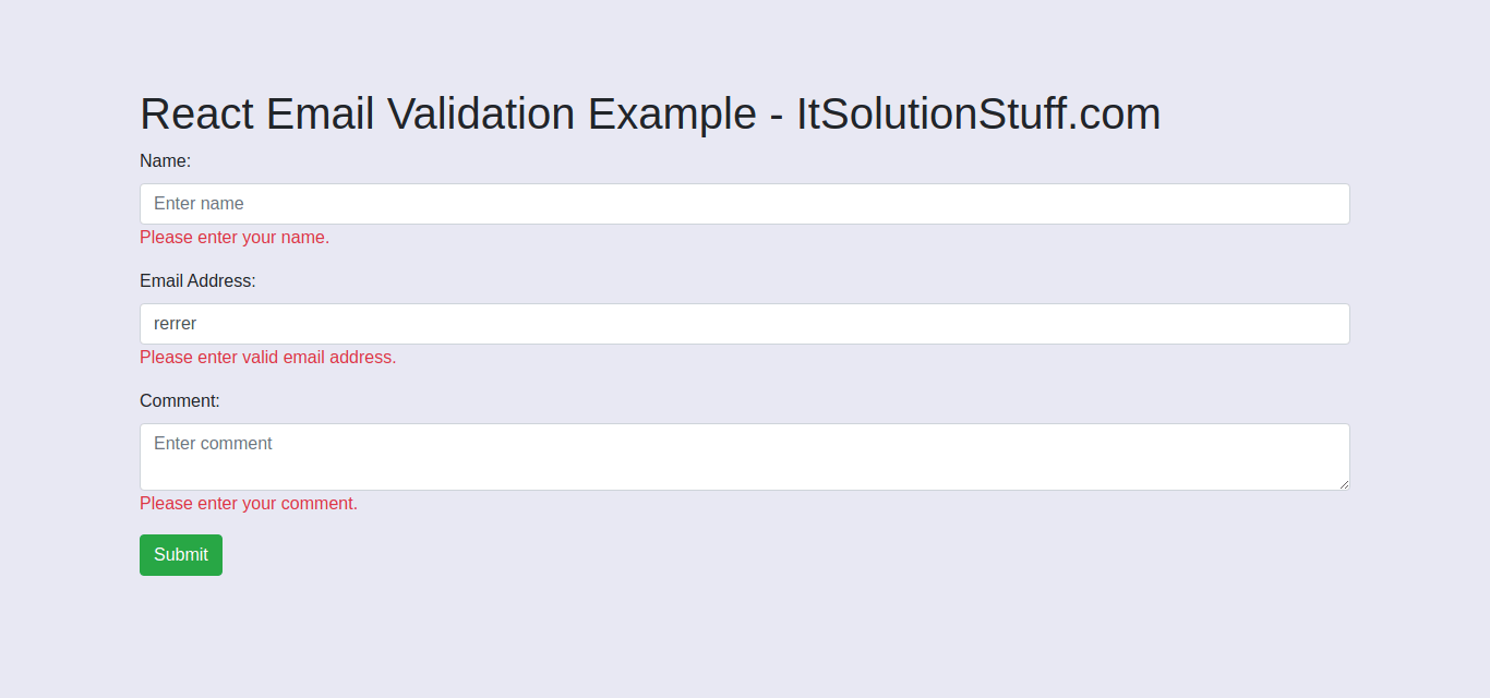 React Email Validation Example