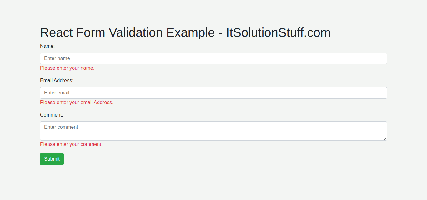 React Form Validation Tutorial Example