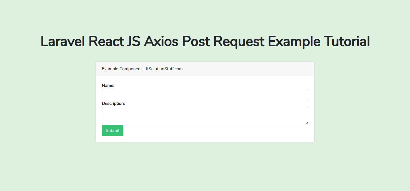 Laravel React JS Axios Post Request Example Tutorial
