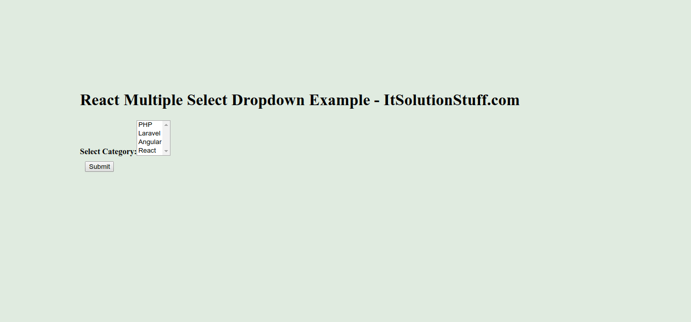 React Multi Select Dropdown Example
