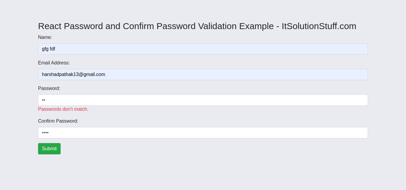 Password and Confirm Password Validation in React