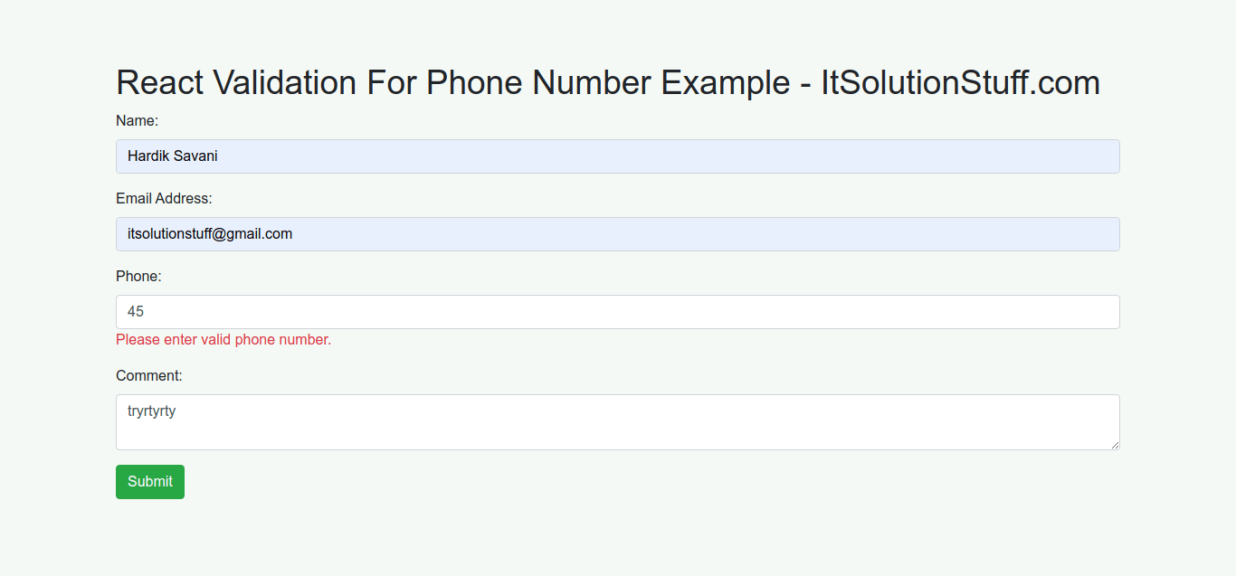 React Phone Number Validation Example