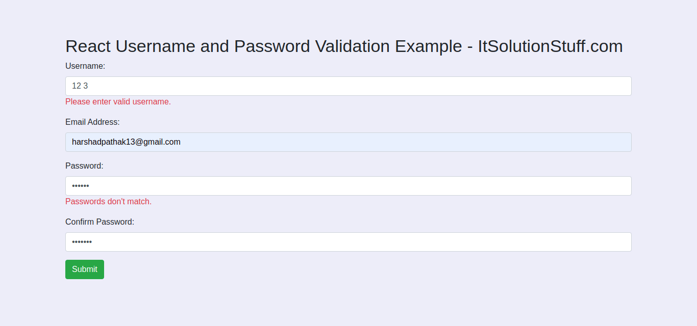 Username and Password Validation in React Example