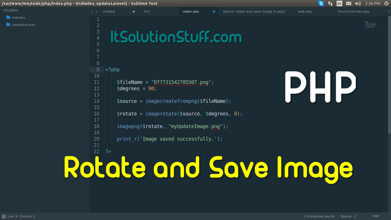 How to rotate and save image in php?