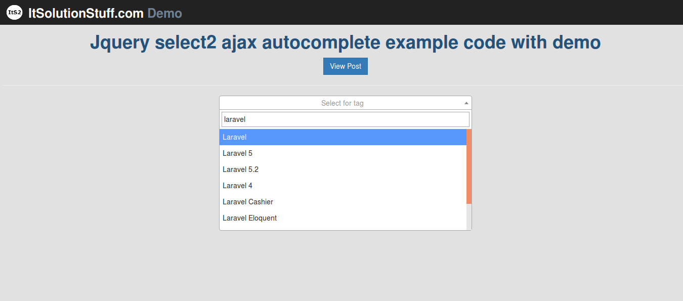 Jquery select2 ajax autocomplete example with demo in PHP