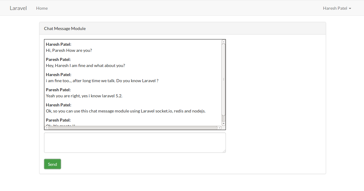 Laravel 5.2 chat message module using socket.io, redis, express and nodejs from from scratch.