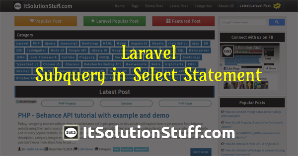 Laravel - How to make subquery in select statement?