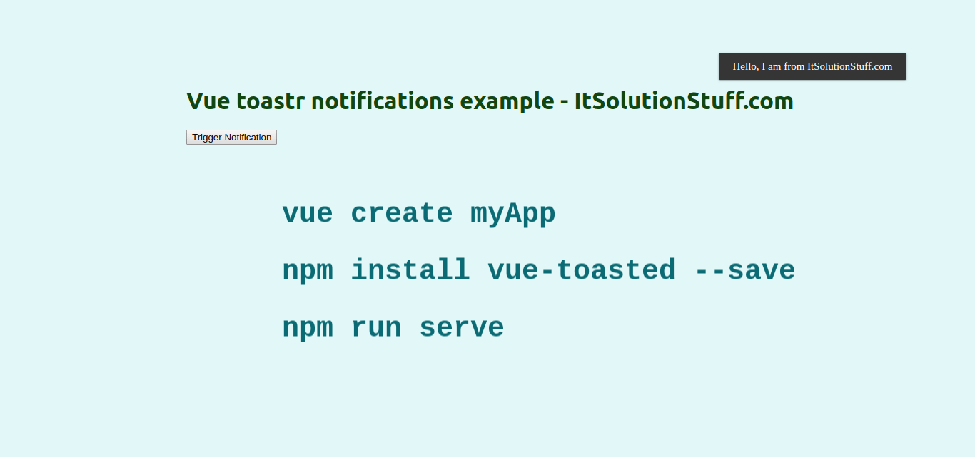 Vue toastr notifications example