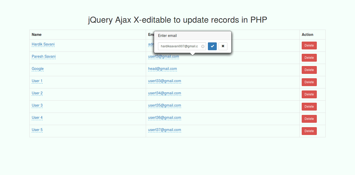 jQuery Ajax X-editable bootstrap plugin to update records in PHP Example